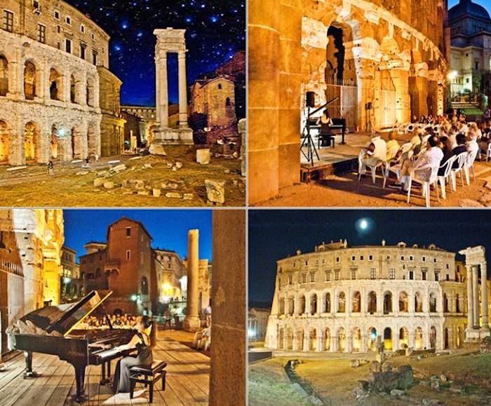 THE CONCERTS OF THE TEMPIETTO - Music Festival of Nations - Roman Nights at the Teatro di Marcello - 7.45 pm Guided tour of the archaeological area of ​​the Teatro di Marcello - 19.30 - 20.30 - Poetry - 8.30 pm Concert