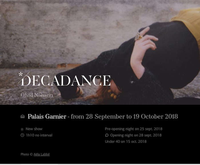 After Perpetuum, which entered the repertoire in 2000, and a tour with his own company in 2015, Ohad Naharin is once again invited to the Palais Garnier with one of his showcase pieces, Decadance.
