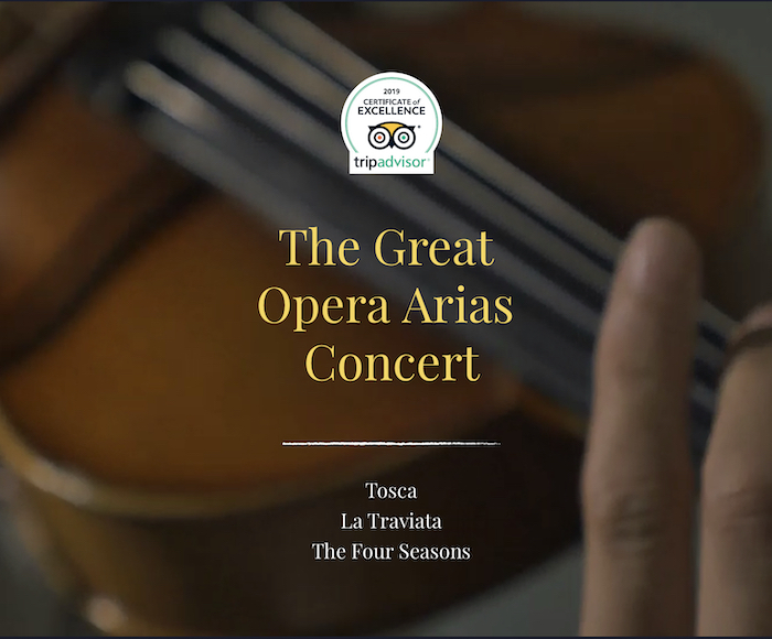 Tosca, La Traviata, The Four Seasons - The program is presented by a string quartet which accompanies tenor and soprano soloists. Our musicians and singers are all graduated from the Conservatorio di Musica Santa Cecilia. Cocktail bar open from 6:30 pm