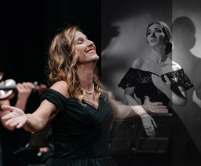 Homage to the divine Maria Callas in which the soprano will perform the greatest hits of the famous singer accompanied by violin and piano, with stunning costumes and dresses