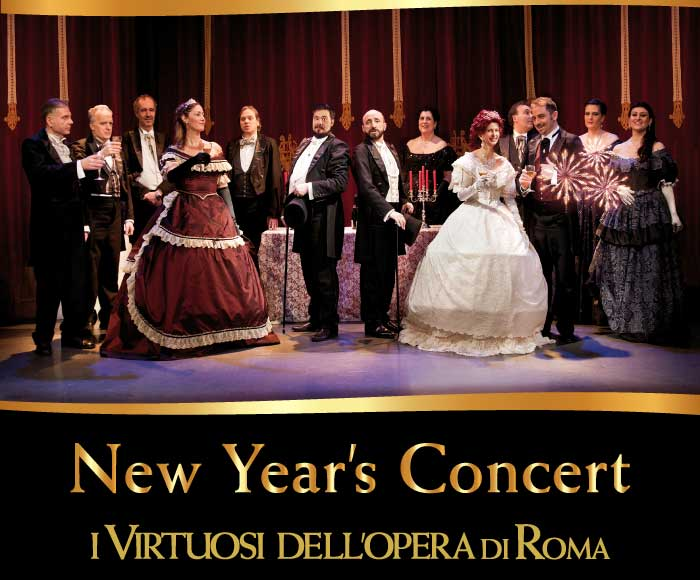 I Virtuosi dell'opera di Roma greet the new year with an exceptional event: a lyrical concert enriched by famous valzer and christmas songs. Introducing the Soprano Singer S. Leone, il Mezzosoprano I. Bottaro, il Tenore P. Paulucci ed il Baritono M. Utz