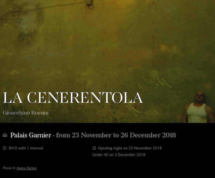 LA CENERENTOLA (from 23 November to 26 December 2018)