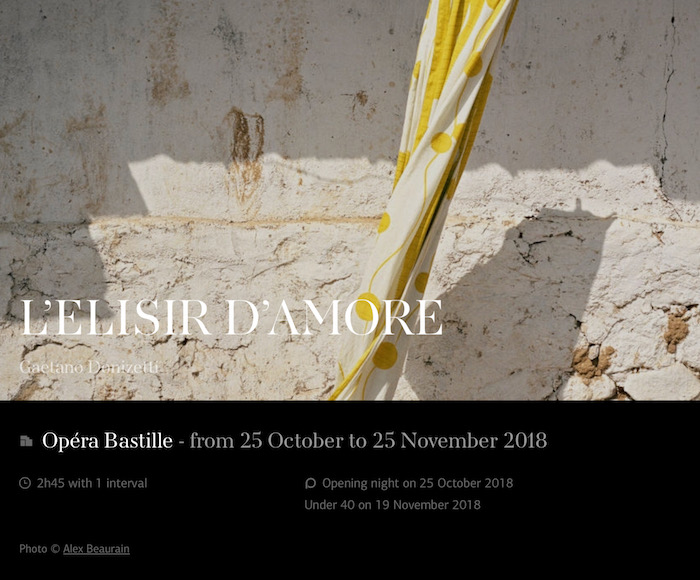 L'ELISIR D'AMORE (from 25 October to 25 November 2018)