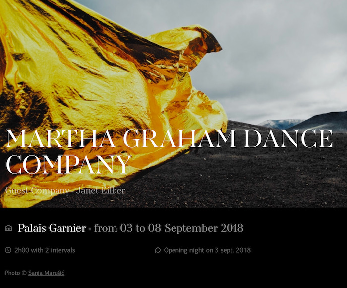 MARTHA GRAHAM DANCE COMPANY (from 03 to 08 September 2018)