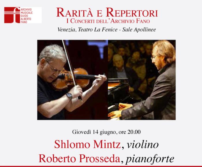 Felix Mendelssohn: Sonata in fa maggiore - Shlomo Mintz: Sonatina Guido Alberto Fano: Fantasia-Sonata - César Franck: Sonata in la maggiore