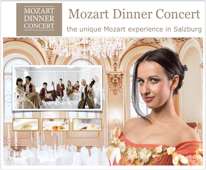 Enjoy an evening likely to have taken place in 1790 - in the Baroque Hall lit by candles, having a dinner based on historical recipes, listening to a concert with musicians in authentic costumes  and the music of Wolfgang Amadeus Mozart.