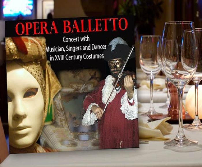 An evening of Venetian fun offers a dinner (start at 7 PM) with typical Venetian menu and then go to see the Concert (start at 9 PM)