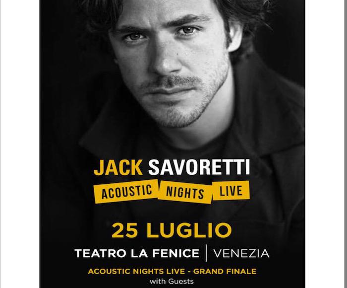 The singer Jack Savoretti at LA FENICE Theatre with a special group of musicians: Pedro Vito Vieira De Souza - piano: Nikolaj Torp Larsen - cello: Francesca Gosio - violin: Piergiorgio Rosso