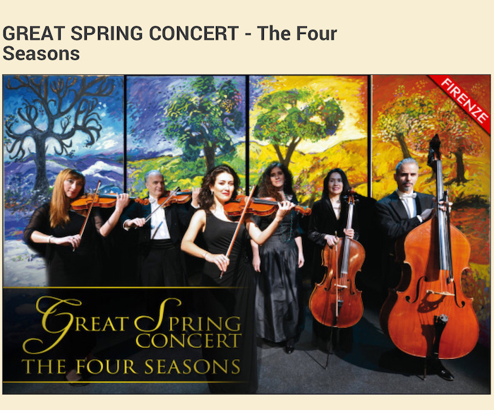 "GREAT SPRING CONCERT -  Join us on a journey back to the 18th century… The ""Opera in Florence"" Baroque Orchestra and internationally renowned soloists create a special atmosphere in the Relais of Santa Croce in Florence."