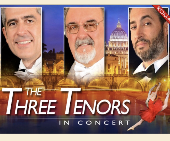 Three renowned tenors of Opera in Roma and magnificent dancers in costume will perform beautiful opera arias and the most famous Neapoletan songs
