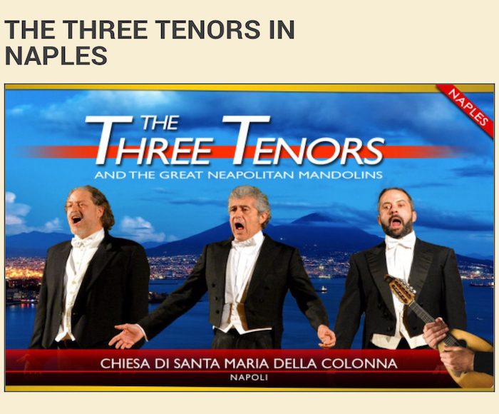 Have a wonderful Italian evening with the Three Tenors and Opera arias, Neapolitan songs and an emotional mandolin quartet.