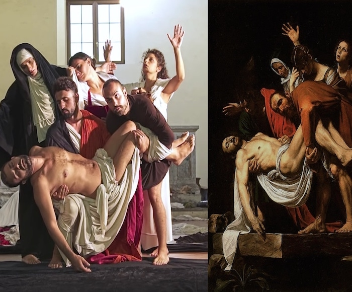 Under the eyes of the spectators, 23 paintings by Caravaggio are made with the bodies of the actors and the use of everyday objects and draped fabrics.